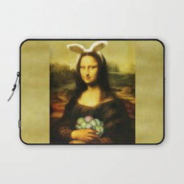 Easter Mona Lisa with Bunny Ears and Colored Eggs Laptop Sleeve