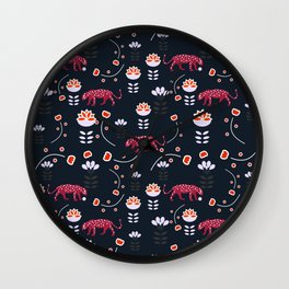 Pink jaguars in the night Wall Clock