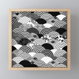 Nature background with japanese sakura flower, Cherry, wave circle Black gray white colors Framed Mini Art Print