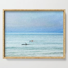 Seascape with kayaks watercolor Serving Tray