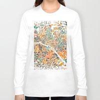 paris map Long Sleeve T-shirts featuring Paris mosaic map #3 by Map Map Maps