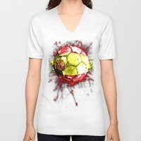 spain V-neck T-shirts featuring football  spain by seb mcnulty