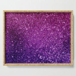 Pretty Pink & Purple Faux Glitter Gradient Serving Tray