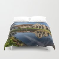 downton abbey Duvet Covers featuring Abbey Reflection by Adrian Evans