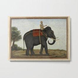 An Elephant Keeper Riding His Elephant (1825) Metal Print