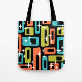 Retro Mid Century Modern Abstract Pattern 222 Orange Chartreuse Turquoise Tote Bag