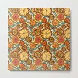 Groovy Marigold Floral Metal Print