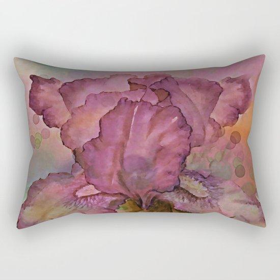 Deep Pink Watercolor Iris Rectangular Pillow