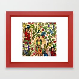 Frida's Garden, Casa Azul Lush Greenery Frida Kahlo Landscape Painting Framed Art Print