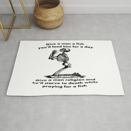 Give A Man A Fish And He Eats For A Day Proverb Parody Rug