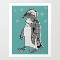 penguin Art Prints featuring Penguin by Rachel Russell