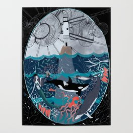 Folky Mermaid and the Sea Scene Poster