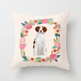 brittany spaniel dog floral wreath dog gifts pet portraits Throw Pillow
