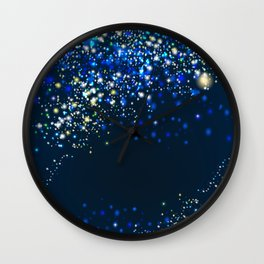 Vector golden and silver glitter particles background effect for luxury greeting card-01. Star dust sparks in explosion on blue  Wall Clock