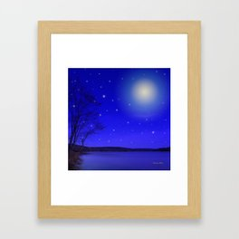 Moon and Stars Landscape Framed Art Print