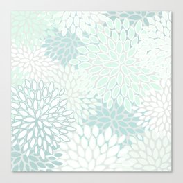Festive, Floral Prints, Soft Teal, Mint Green and White, Modern Print Art Canvas Print