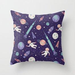 Lunar Spacewalk - Purple + Coral Throw Pillow