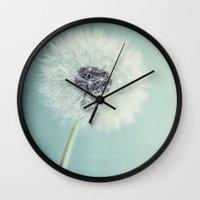 dandelion Wall Clocks featuring Dandelion  by Juste Pixx Photography