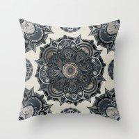islam Throw Pillows featuring Silver Mandala by Mantra Mandala