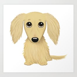 Longhaired Cream Dachshund Art Print