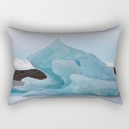 Big blue iceberg in front of a glacier Rectangular Pillow