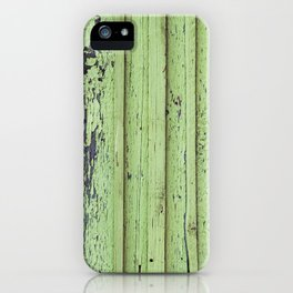 Rustic mint green grunge wood panels iPhone Case