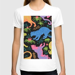 Jungle Cat Party in Black + Neon T-shirt