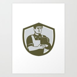 Cheesemaker Holding Cheese Shield Retro Art Print