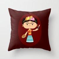 frida kahlo Throw Pillows featuring Frida Kahlo by Sombras Blancas Art & Design