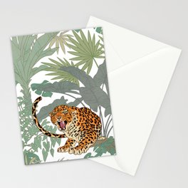 Leopards in the jungle pattern. Stationery Cards