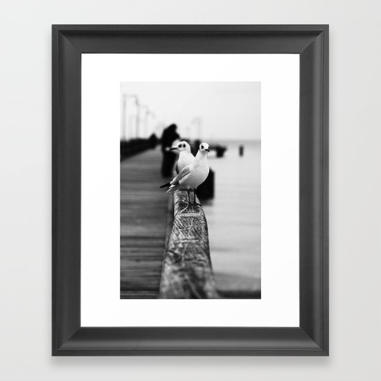 Gulls on the Pier - Black & White Photography Framed Art Print