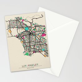 Colorful City Maps: Los Angeles, California Stationery Cards
