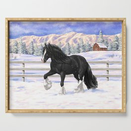 Black Gypsy Vanner Draft Horse Running in Snow Serving Tray