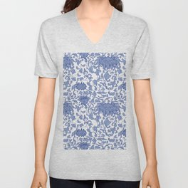 Chinoiserie Vines in Delft Blue + White Unisex V-Neck