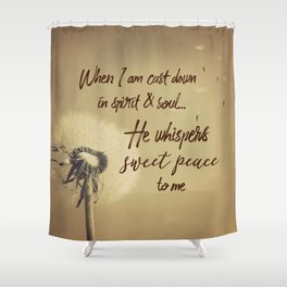 Hymn Typography: Sweet Peace Shower Curtain