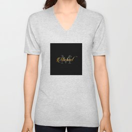 Name and initial of a boy Michael in golden letters Unisex V-Neck