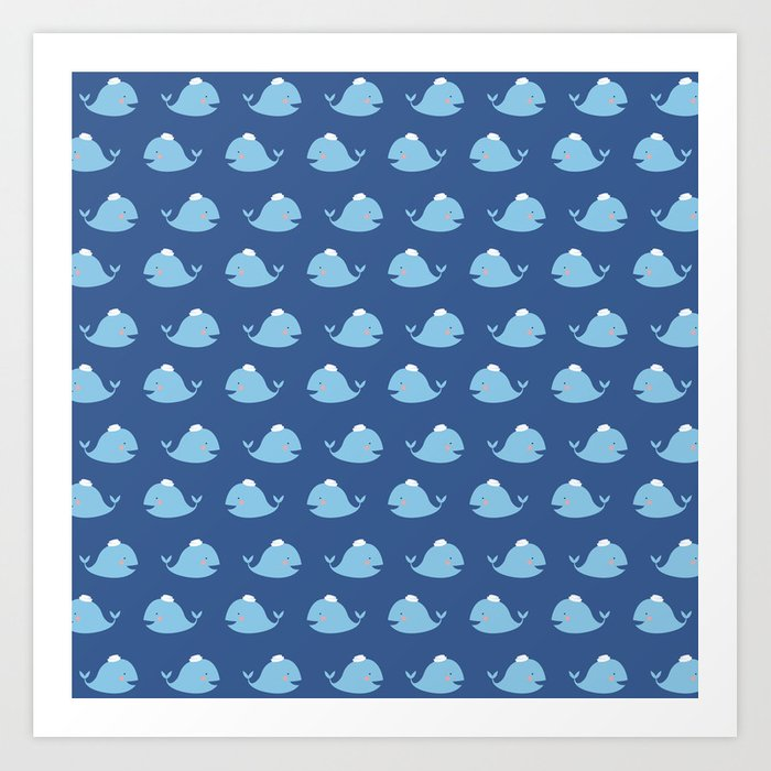 Cute Nautical Blue Teal White Funny Whale Pattern Art Print By Enchanting Whale Pattern