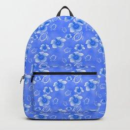 Blue Honu And Hibiscus Hawaiian Pattern Backpack