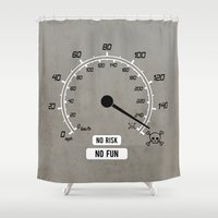 audi Shower Curtains featuring No Risk No Fun by Barbo's Art