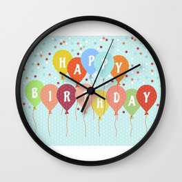 Colorful Birthday card Wall Clock