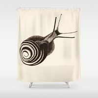 snail Shower Curtains featuring  Snail. by Assiyam