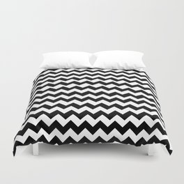 Imperfect Chevron - Black Duvet Cover