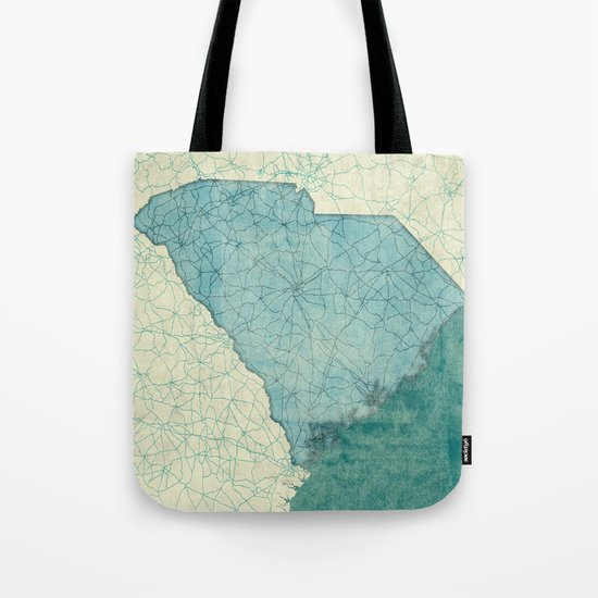 South Carolina State Map Blue Vintage Tote Bag