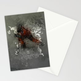 On Ice - Ice Hockey Player Modern Art Stationery Cards
