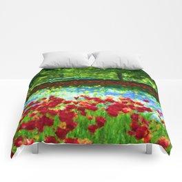 Colorful Impressionist Flower Field - II Comforters