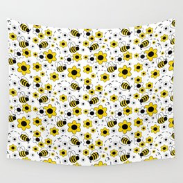 Honey Bumble Bee Yellow Floral Pattern Wall Tapestry