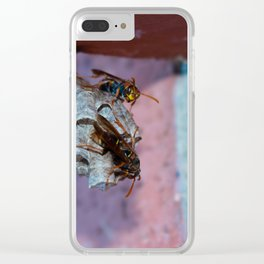 Paper Wasps Gaurding Clear iPhone Case