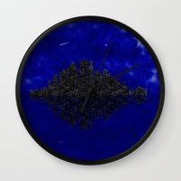 skyline Wall Clocks featuring Skyline by Mi Nu Ra
