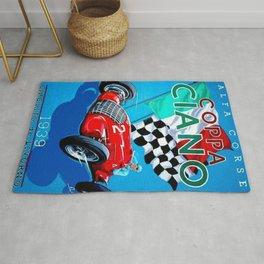 1939 Italian Grand Prix Motor Racing Coppa Ciano Alfa Corse Vintage Poster Rug