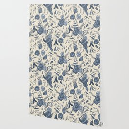 Blue Floral Pattern Wallpaper